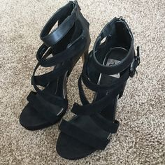 Dolce Vita Black Heels Cross straps, zipper in the back, great condition, buckles on the side, worn once or twice Dolce Vita Shoes Heels