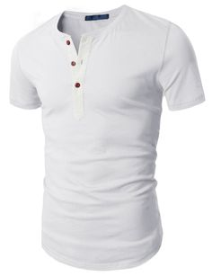 H2H Mens Fashion Henley Short Sleeve Slim Fit Shirts at Amazon Men's Clothing store: