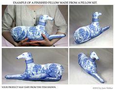 Blue Toile Greyhound Print Pillow Fabric Panel by ArtbyJaneWalker