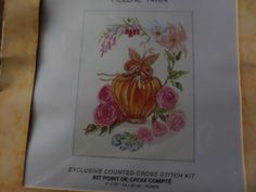 Cross stitch kit with vase,roses and butterfly by MaddisonsRainbow on Etsy Cross Stitch Kits, Pretty Pictures, Roses, Butterfly, Chart, Flowers, Fabric, Etsy, Design