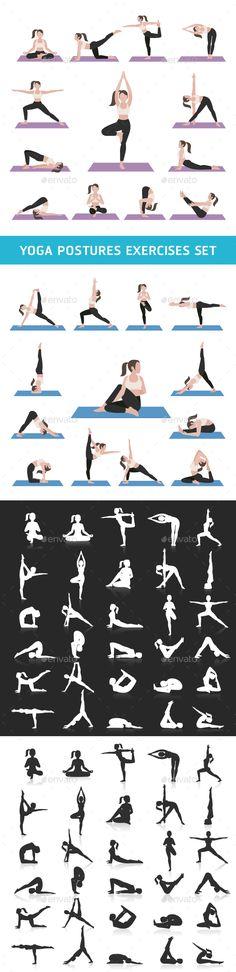 Yoga Postures Exercises Icons Set.