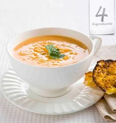 Warm with garlic and ginger - this bright healthy butternut squash soup can be whipped up in just 20 minutes Thai Pumpkin Soup, Thai Soup, Carrot And Coriander Soup, Fresh Coriander, Butternut Squash Soup Healthy, Good Food Channel, 4 Ingredient Recipes, Koken