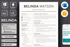 ★★★★★ Welcome to Hired Design Studio! --- BETTY JAMES - Professional & Modern Resume Template for Market Analyst. Professional Resume for Word & Pages, CV Cover Letter Format, Cover Letter For Resume, Cover Letter Template, Letter Templates, Cover Letters, Template Cv, Modern Resume Template, Creative Resume Templates, Design Templates