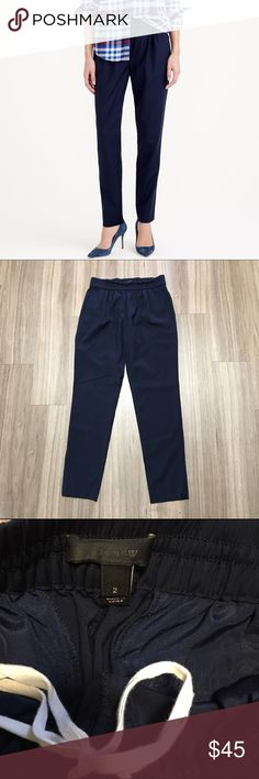 J. Crew Harlow Pants in Navy Blue Wool blend elastic waist, drawstring pull on pants. I believe these are a Harlow (please correct me if I'm wrong). Pockets. Skinny / tapered leg opening. Amazing condition! J. Crew Pants Skinny