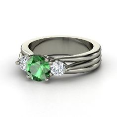 Three Part Harmony Ring, Round Emerald Platinum Engagement Ring with Diamond - simply beautiful