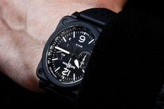 BR 03-94 BLACK MATTE Ceramic on wrist. Automatic 42 mm diameter Matte Black Ceramic Date + Elapsed Time Chronograph Black Rubber Straps