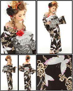 Oiran Yukata Style. Japanese Cotton, Japanese Kimono, Whatsoever Things Are Lovely, Modern Kimono, Ethnic Dress, Different Dresses, Bridezilla, Yukata, Kawaii Fashion