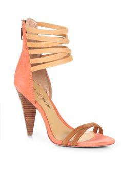 Rebecca Minkoff Mirra Suede Anklestrap Sandals in Orange (CORAL TAN)