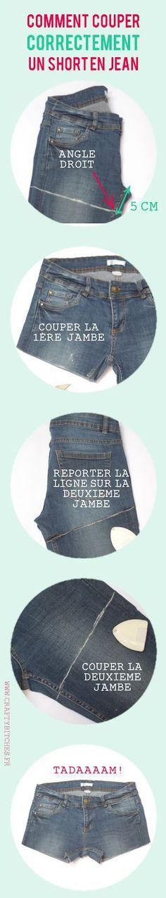 Comment couper un short en jean (sans faire de massacre). This is a bit short for me, but good info on the angle. Diy Shorts, Diy Jeans, Diy Couture, Couture Sewing, Couture Vintage, Diy Clothing, Sewing Clothes, Diy Fashion, Womens Fashion