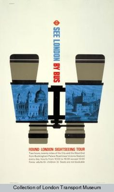See London by bus; Round London Sightseeing Tour, by Tom Eckersley, 1969