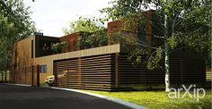 Жилой дом в поселке Лосиноостровские усадьбы (Подмосковье). #architecture #архитектура #2floors_6m #2этажа_6м #housing #жилье #modernism #модернизм #200_300m2 #200_300м2 #facade_wood #фасад_дерево #frame_ironconcrete #каркас_ж/б #cottage #mansion #коттедж #особняк