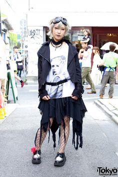 Zombie-Loving Harajuku Girl in Black Peace Now & Sky Screams Blue