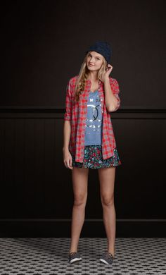 Love the casual tops with floral skirt So Cal Looks | Hollisterco.com
