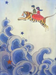 Their Escape was Miraculous (Children and Tiger Illustration)- limited edition print of original mixed media painting
