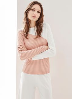 Peach and White Sweater  from Adolfo Dominguez.