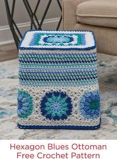 Hexagon Blues Ottoman Free Crochet Pattern in Red Heart Super Saver Yarn All Free Crochet, Crochet Round, Bead Crochet, Crochet Cushions, Crochet Pillow, Crochet Furniture, Blue Ottoman, Ottoman Cover, Crochet Home Decor