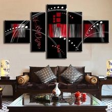 5 Pcs/Set Abstract Oil Painting Red Black Combined Abstract Canvas Wall Art Picture Modern Canvas Oil Art Prints ,(China (Mainland))