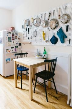"""His proudest DIY? """"The pegboard, for sure. It was a fun project, a total pain in the butt, but it's one of my favorite parts of my apartment now"""" Stockholm Apartment, Boston Apartment, Small Space Living, Living Spaces, Decorating Small Spaces, Interior Decorating, East Coasters, Home Decor Pictures, One Bedroom"""