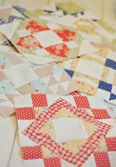 Fig Tree Quilts Avalon fabrics and Moda Friendship Quilt blocks.  Love!