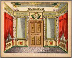 Bouwplaat in kleur van een papieren theater voorstellende een achterdoek voor een salon