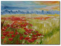 Nieuwe schilderijen in onze collectie bij Kunstvoorjou.nl. Schilderij Summer meadow with popies