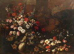 size: Giclee Print: Still Life with Flowers, Fruit, Mushrooms and Birds by Paolo Porpora : Canvas Artwork, Framed Artwork, Oil On Canvas, Be Still, Still Life, Find Art, Giclee Print, Stuffed Mushrooms, Birds