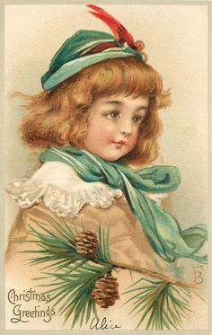 CHRISTMAS GREETINGS  head and shoulders of girl in brown coat red feathered green cap, pine cones below - Art by FRANCES BRUNDAGE