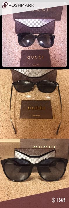 Women's Gucci Sunglasses Timeless and black. Comes with bag, card, and glasses. Gucci Accessories Glasses