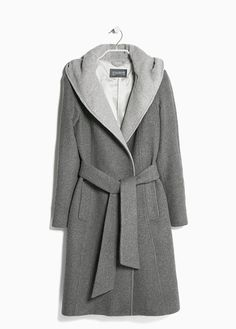 Hooded wool-blend coat This is the bath robe style and good for the shaped and would also smooth a fuller chest