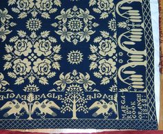 Gorgeous Antique Signed 1843 Indigo Jaquard Coverlet w Eagle Stars Flowers… Weavers Cloth, Antique Signs, Tapestry Weaving, How To Make Pillows, Textile Patterns, Primitives, Woven Rug, Linens, Rustic Decor