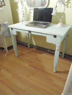 aqua chic desk table shabby distressed beach coastal cottage blue white antique vintage. $295.00, via Etsy.