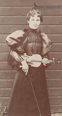 CABINET PHOTO BEAUTIFUL VICTORIAN WOMAN W/ VIOLIN OCCUPATIONAL VIOLINIST