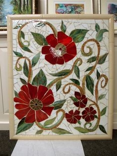 We were commissioned to create this colorful red floral mosaic mural for our client in California. It looks fantastic in their renovated kitchen. The dimensions are wide x tall. Mosaic Pots, Mosaic Diy, Mosaic Garden, Mosaic Crafts, Mosaic Glass, Mosaic Tiles, Stained Glass Designs, Mosaic Designs, Stained Glass Patterns