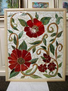 Large Red Floral Mosaic Mural   Designer Glass Mosaics   Designer Glass Mosaics
