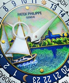 Patek Philippe - Cloisonné enamel dial on a world-time watch from Patek Philippe's 175th anniversary collection.  For the full story, visit: http://www.watchtime.com/wristwatch-industry-news/technology/the-perfect-face-dial-making-at-patek-philippe/ @patekphilippe #watchtime #patekphilippe #watchmaking