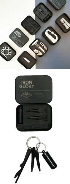 EDC Mini Tool Kit No.2 - Description This sleek mini tool kit includes flathead and Philips screwdrivers, a pill case, bottle opener, ruler and hex wrench -- all in one keychain. Packaged in a black metal tin to make a great gift.