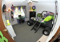 monster truck room, he and Jeremy have already sketched out the drawing and done modifications to this idea.  Can't wait