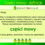 Części mowy - definicje i ćwiczenia