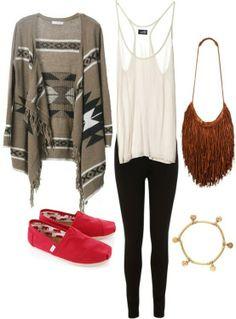Tribal sweater, white tank, brown fringe bag, black leggings