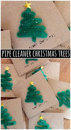 Pipe Cleaner Christmas Tree Craft for Cards by craftymorning: Even the kids could make it!