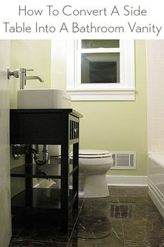 How to convert a night stand into a bathroom vanity and add a sink