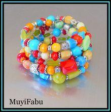 Springtime Colorful Memory Bracelet $68 http://www.rubylane.com/shop/muyifabu
