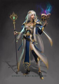 f Wizard Robe Staff Magic Book Female, staff, book, blue