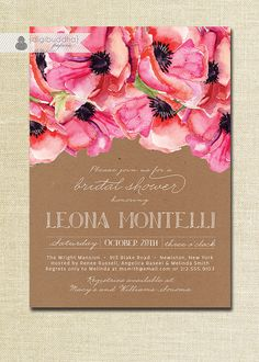 {Leona} Kraft & Floral Bridal Shower Invitation Rustic by digibuddhaPaperie, $23.00 https://www.etsy.com/listing/158061642/kraft-floral-bridal-shower-invitation