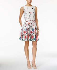 Ivanka Trump Sleeveless Floral-Print Fit-and-Flare Popover Dress