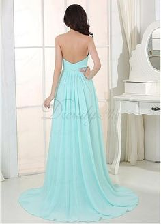 Gorgeous Chiffon Sweetheart Neckline A-line Evening Dress with Beadings & Rhinestones