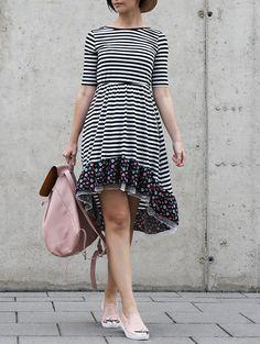Striped Hem With Floral Print Asymmetrical Dress
