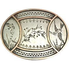 Victorian Sterling Silver and Rose Gold Aesthetic Movement Brooch