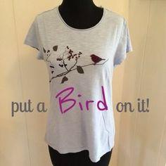 """Adorable """"bird on a branch"""" tee, Small"""