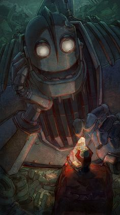 "johnny-dynamo: ""The Iron Giant by ArashiCat "" Arte Robot, Robot Art, Robots, Art And Illustration, Disney And Dreamworks, Disney Pixar, Disney Movies, Desenhos Clash Royale, Arte Peculiar"
